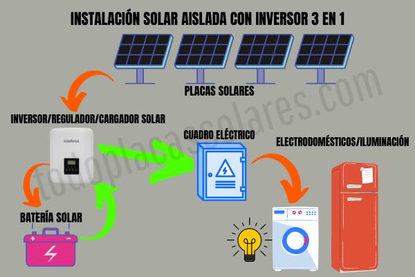 instalacion solar aislada con inversor 3 en 1